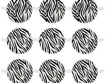 INSTANT DOWNLOAD Black White Blank Zebra print  1 inch Circle Bottlecap Images 4x6 sheets