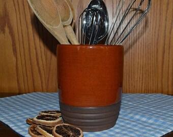 Crock, pottery crock, kitchen crock, utensil holder, spoon holder, spoon crock, wine cooler