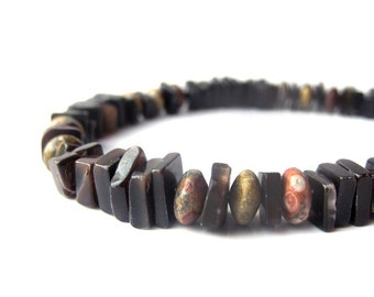 "Men's Beaded Bracelet - Black shell bracelet for men with leopardskin jasper. ""Midnight Leopard"""