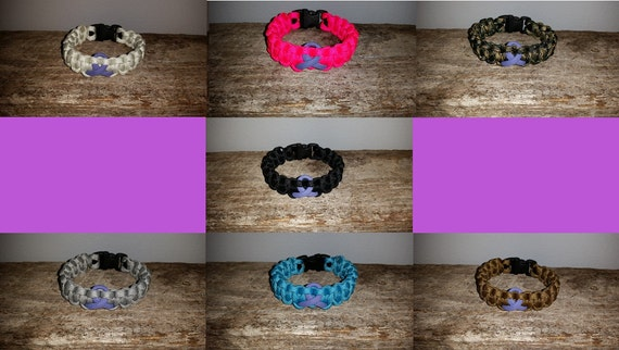 Hodgkin's Lymphoma Cancer Awareness 550 paracord survival bracelet violet ribbon