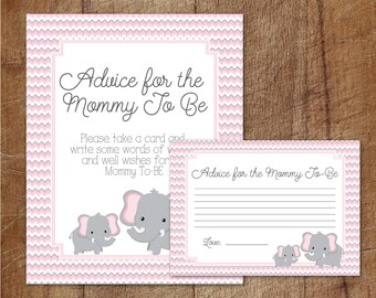 Elephant Baby Shower Advice For Mommy To Be Cards And Sign, Pink And Grey Elephant Baby Shower Advice Cards, Elephant Advice For New Mom