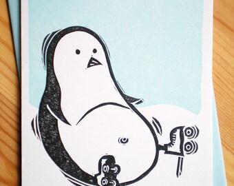 World Famous Rollerskating Penguin Linocut Letterpress Card