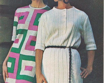 Geometric Design Dress Knitting Pattern Instant Download Knitted Dress Pattern Download PDF Pattern Dress Knitting Download Winter Fashion
