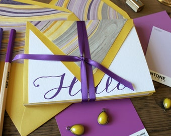 SALE!! HELLO marble lined envelopes boxed sets of notes -  (10) flat notes / Valentine's Day Gift