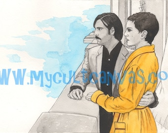 """Original """"Hotel Chevalier"""" Art Print by Phil Gibson Wes Anderson Darjeeling Limited Poster"""