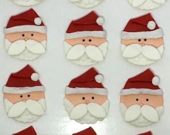 Santa Claus Fondant Cupcake Toppers