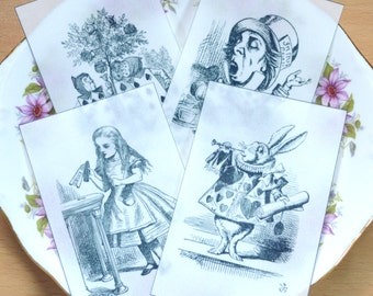 Edible Alice in Wonderland Set 1 Illustrations x4  Black & White Wafer Paper Images Cake Decorations Wedding Topper Mad Hatter Tea Party RTD