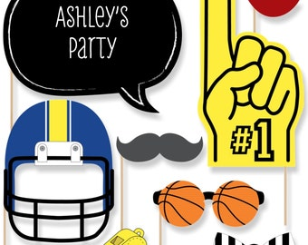 20 Sports Photo Booth Props - All Star Team Photobooth Kit with Custom Talk Bubbles for Baby Shower or Birthday Party