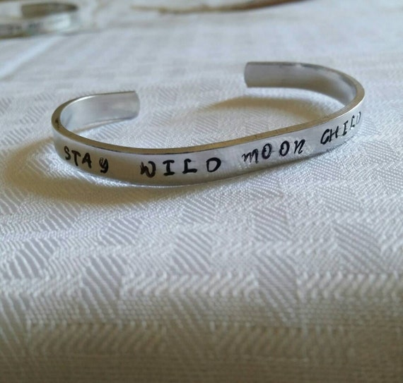Stay Wild Moon Child Metal Stamped Bracelet