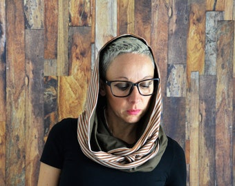 Infinity scarf,scarf,cotton scarf,spring scarf,organic scarf,organic cotton scarf,knit scarf,organic,gift for her,accessories,hooded scarf