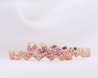 Pair of Dainty Bands Rose Gold Plated Sterling Silver - Dainty Bands, Stacking Rings, 925 Sterling Silver, Delicate, Zig Zag Pattern, CZ
