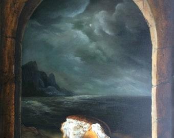 "still life ""Bread"", oil painting, oil painting, landscape, painting, Canvas Art, Wall Art, Modern Art, oil Art on canvas"