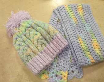 Knit Winter Hat with Crochet Scarf, Winter Hat and Scarf Set for Kids  5- 8 years old,