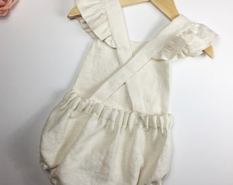 Linen Baby Romper - Linen Toddler Romper - Vintage Baby Romper - First Birthday Outfit - Newborn Photography Outfit - Linen Baby Clothing