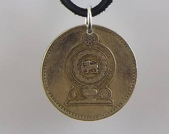 1986 Sri Lanka Coin Necklace, 5 Rupees, Coin Pendant, Mens Necklace, Womens Necklace, Leather Cord, Vintage