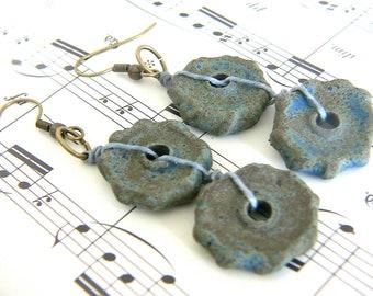 Casual Blue  Earrings , Handmade Ceramics, Earthy Earrings, Rustic Earrings, BoHo Earrings, Gift for Her