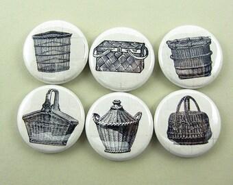6 Basket Fridge Magnets, Wine Charms, Pins - victorian vintage baskets - home living, organization, kitchen  1251