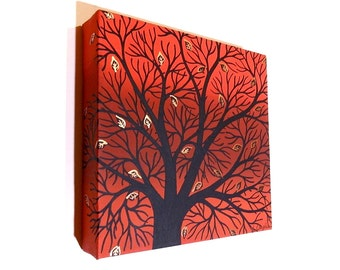 Abstract Autumn Tree Art - original acrylic painting of black silhouetted branches against a red autumn background on a square canvas