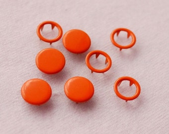 100 sets, Orange (XM8) Capped and Open Prong Snap Button, Size 18L/17L (11.3/10 mm)