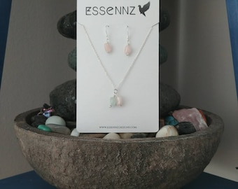 Morganite and Sterling silver necklace and earring set
