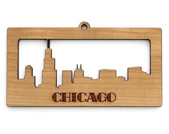 Chicago Skyline Ornament - Timber Green Woods. Sustainable Harvest Wood. Made in the USA!