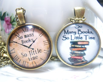 So Many Books So Little Time Pendant Necklace, Book Lover Jewelry, Book Collector, Librarian Gift, Book Club Gift, Writers Gift, Books
