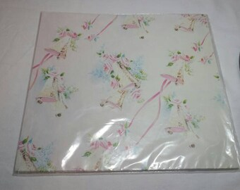 Vintage Gift Wrap Wrapping Paper Wedding Bells 1980s