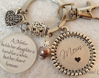 MOM Keychain Personalized, Mother, Grandmother, Nana, Mimi, Jewelry, Key Chain, key fob, Necklace, A Mother holds her daughters hand, M02
