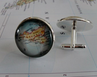 SICILY MAP Silver CUFFLINKS / Sicily Cuff Links / groomsmen gift /  Personalized Gift for Him / Custom map jewelry / Gift Boxed