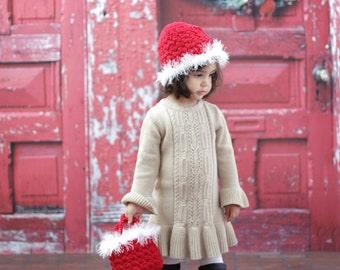 Girl's Beanie Easy CROCHET PATTERN Hat and Bag SANTA Holiday Winter Christmas