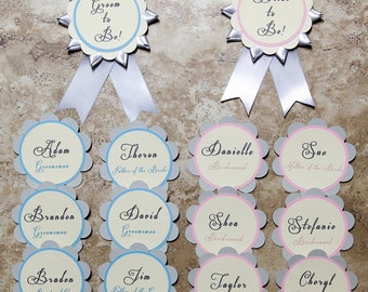 Wedding name tag - (Bride, Groom and 12 bridal party tags)