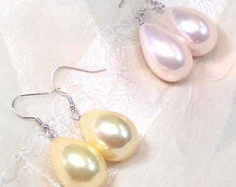 Shell Pearl Earrings, Yellow Or Pink, In Sterling Silver, Handmade Jewelry By NorthCoastCottage Jewelry Design & Vintage Treasures