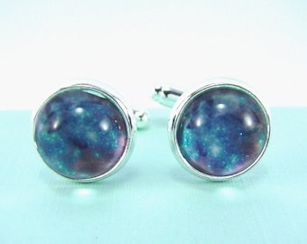 TARANTULA NEBULA Silver Cuff Links -- Celestial art, Space glitter cuff links for him or her,  Science technology art for astronomy  buffs