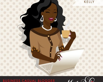 Dark Skin, African American avatar, Blogger Character in Business Causal outfit. Chic Character Design for Web, Blog or Social Media