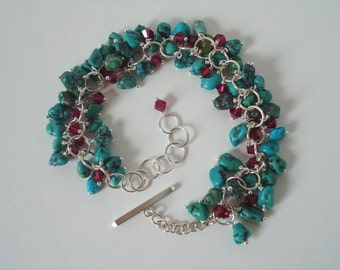 Turquoise and Ruby Crystal Sterling Silver Bracelet