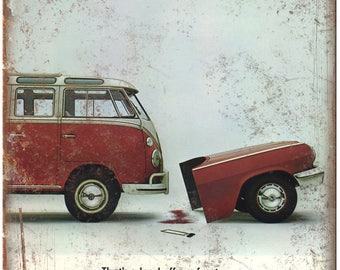 "Volkswagen VW Bus Ad Load off Our Front 10"" X 7"" Reproduction Metal Sign A66"