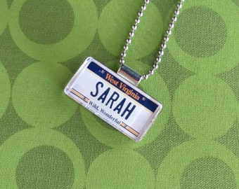 Personalized West Virginia License Plate Pendant Necklace by PL8LINKS