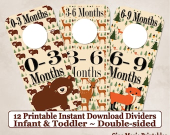 Printable 12 Baby Toddler Double-Sided Closet Dividers Woodland Bear Fox Deer Sizes NB-6 - DIY Instant Download - Baby Shower Gift
