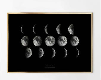 Moon Phases Print/Moon Prints/Moon Posters/Moon Wall Art/Astronomy Prints/sky moon night print illustration/minimalist moon poster/moon wall
