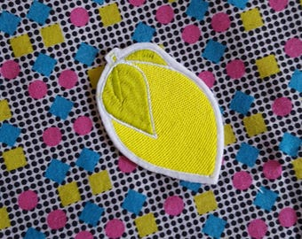 Lemon patch - emoji - frosted yellow-  Embroidered Iron on Patch, Patches, Jacket, Bag, Jeans, Motif, Customise