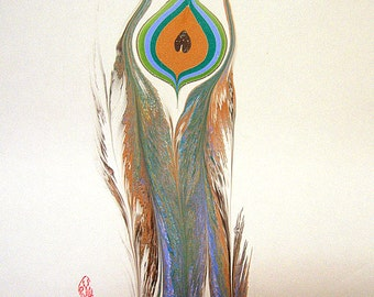 "Peacock Feather - The Original ""Marbled Graphics""™ by Robert Wu, Original Marbling Art, Marbled Paper"