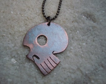 Copper Skull Pendant with chain  Day of the Dollies