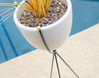 Mid Century Planter with Stand Tall Modern Bullet Tripod Base & Ceramics - Brass, Black, White  - Eames Era Hairpin Vintage Style Pottery