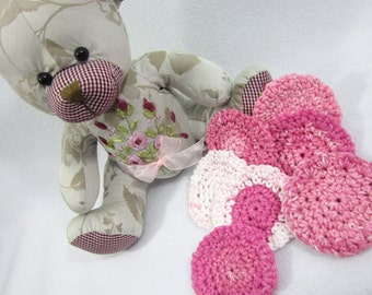 Cotton Facial Cloths, Reusable Make Up Removers, Beauty Cloths, Facial Scrubbies All Cotton Pink and White Face Scrubbies by Charlene