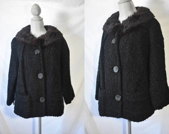 Vintage 60s Black Persian Lamb Wool Coat Cropped Dress Jacket Mink Fur Collar Boxy Mini Coat Mad Men Winter Jacket Button Up Stroller Coat