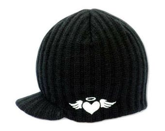 Black Ribbed Visor Beanie 2T-4T