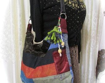 SALE Patchwork Bag Hippie Bag handmade fabric bag granny bag, hippie patchwork bag, granny patchwork