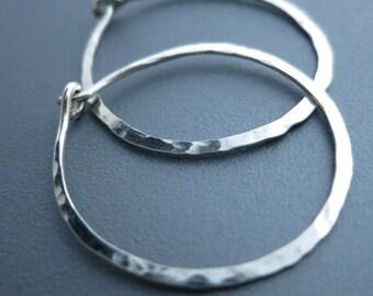 Hammered Sterling Silver Hoop Earrings 1 inch