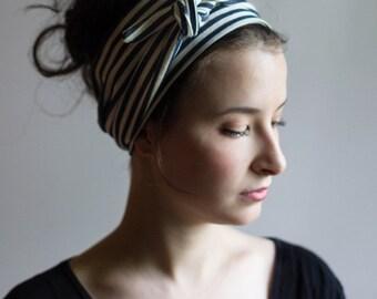 Wide Headbands for Women / Womens Twisted Headband / Womens Headband / Turban Headwrap /  Hair Accessories / Navy and Ivory Stripe