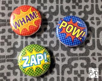 """ZAP! POW! WHAM! Superhero Comic 1"""" Button Pin/Magnet Set"""